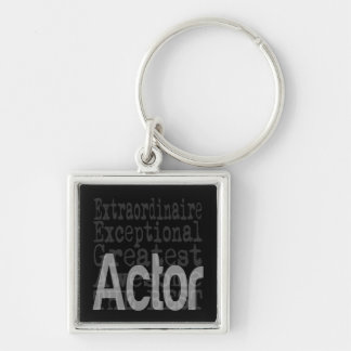 Actor Extraordinaire Silver-Colored Square Keychain