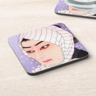 Actor fresco de Shunsen Natori Kabuki del japonés Posavasos