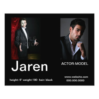 """Actor Headshot Affordable Comp  Cards 4.5"""" X 5.6"""" Flyer"""
