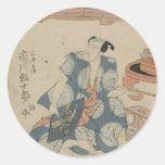 Actor Ichikawa Ebijuro de Utagawa Toyokuni- Pegatinas Redondas