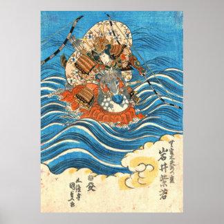 Actor Iwai Shijaku 1830 de Kabuki Póster