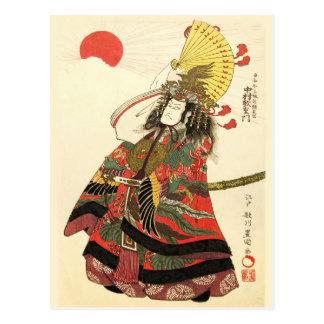 Actor japonés como líder militar del samurai tarjeta postal