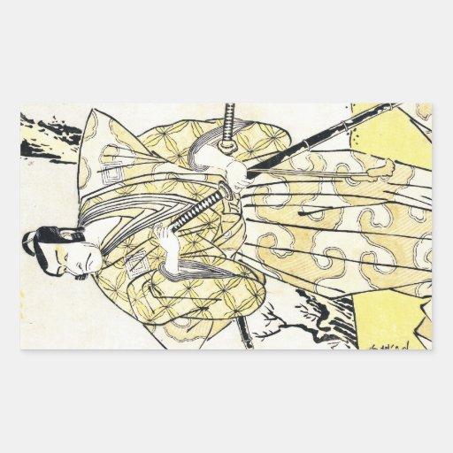 Actor japonés del vintage clásico como samurai rectangular pegatinas