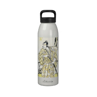 Actor japonés del vintage clásico como samurai Shu Botella De Agua