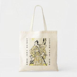 Actor japonés del vintage clásico como samurai Shu Bolsas De Mano