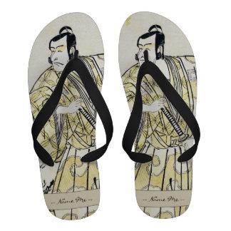 Actor japonés del vintage clásico como samurai Shu Sandalias