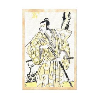 Actor japonés del vintage clásico como samurai Shu Impresion En Lona