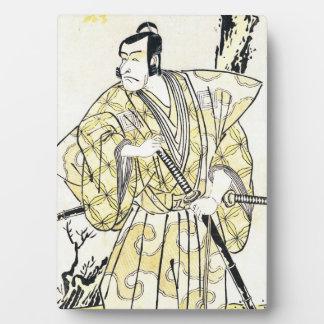 Actor japonés del vintage clásico como samurai Shu Placa De Plastico