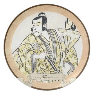 Actor japonés del vintage clásico como samurai Shu Plato De Comida