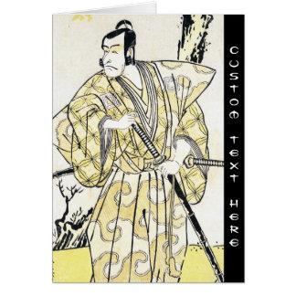 Actor japonés del vintage clásico como samurai Shu Felicitacion