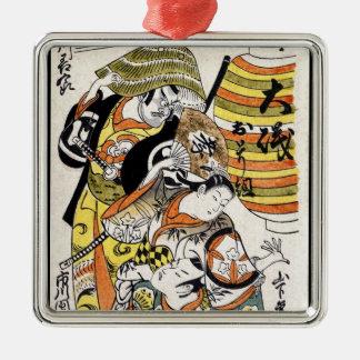 Actor japonés fresco del kabuki del guerrero del ornamento de reyes magos