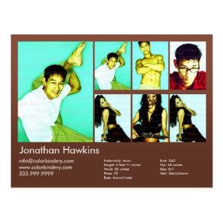 Actor & Model Brown Headshot Comp Postcard