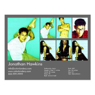 Actor/Model Dark Grey Headshot Card Postcard