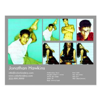 Actor & Model Light Gray Headshot Comp Postcard