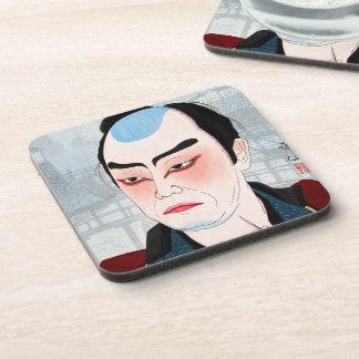 Actor oriental fresco de Shunsen Natori Kabuki del Posavasos De Bebida