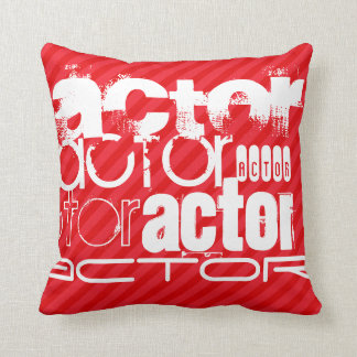 Actor; Scarlet Red Stripes Throw Pillow