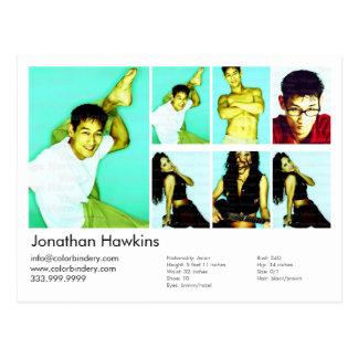 Actor/tarjeta modelo del Headshot Postal