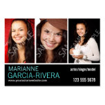 Actor Triple Headshot Stats Business Card Templates