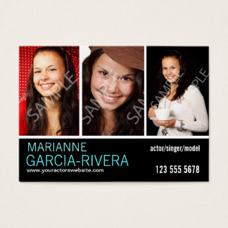 Actor Triple Headshot Stats Business Card