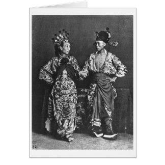 Actores chinos, c.1870 (foto de b/w) tarjeta