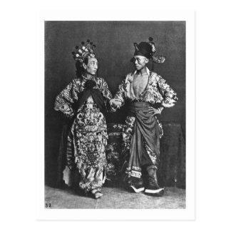 Actores chinos, c.1870 (foto de b/w) tarjetas postales