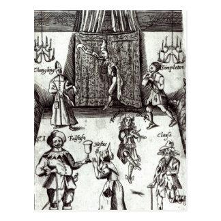 Actores cómicos en el funcionamiento, 1662 postal