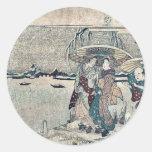 Actores de Setchu en nieve por Kikukawa, Eizan Pegatinas Redondas