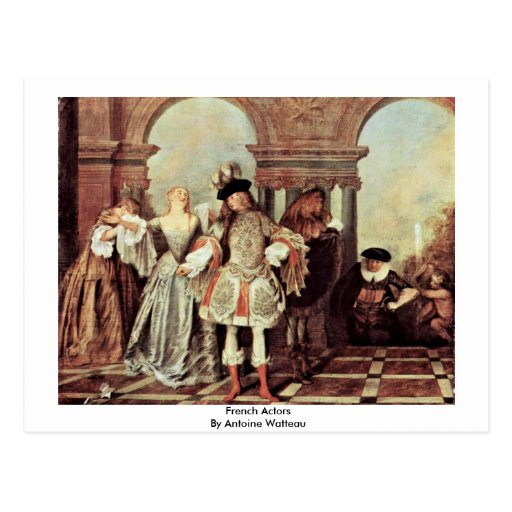 Actores franceses de Antoine Watteau Postal