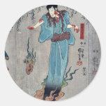 Actores por Utagawa, Kuniyoshi Pegatina Redonda