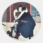 Actores por Utagawa, Kuniyoshi Pegatinas Redondas