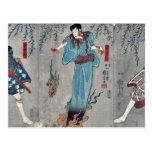 Actores por Utagawa, Kuniyoshi Tarjeta Postal