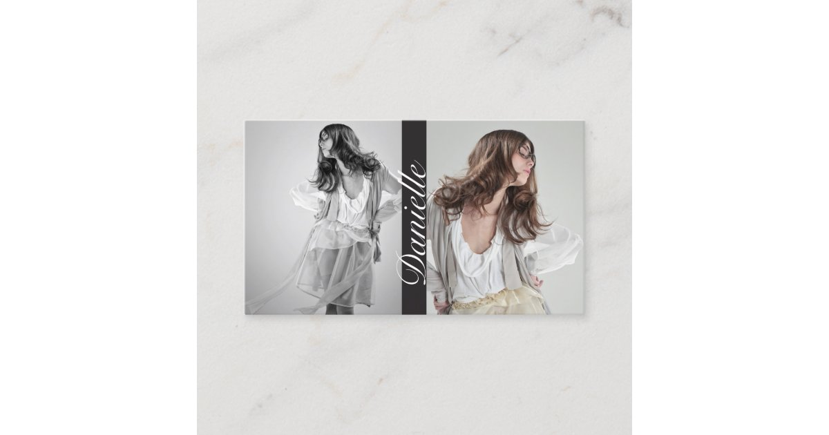 Actors and Models Double Photo Business Card   Zazzle.com