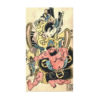 Actors Danjuro and Hangoro 1736 Stretched Canvas Prints