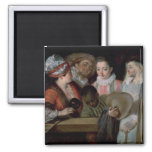 Actors from the Theatre Francais, c.1714-15 2 Inch Square Magnet