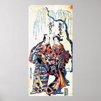 Actors Ichimura Kamezo and Nakamura Kiyoza 1755 Print