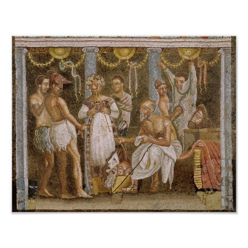 Actors rehearsing for a Satyr play, c.62-79 AD Poster
