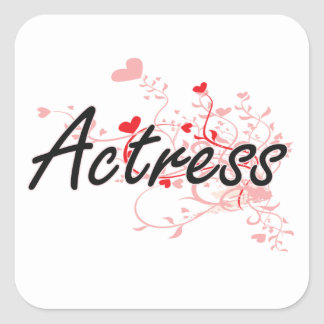 Actress Artistic Job Design with Hearts Square Sticker
