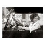 Actress Behind the Wheel, 1921 Post Card