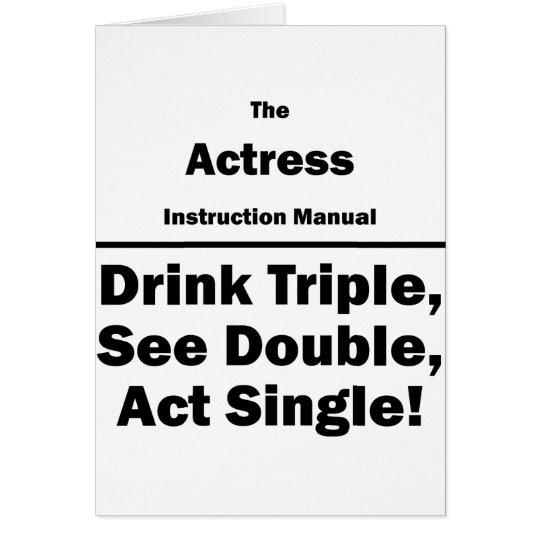 actress instruction manual card