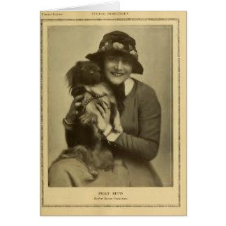 Actriz de película muda de Peggy Betts con el perr Tarjeta