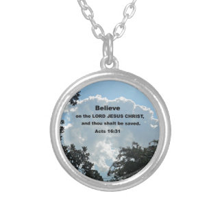 Acts 16:31 Believe on the Lord Jesus Christ Silver Plated Necklace