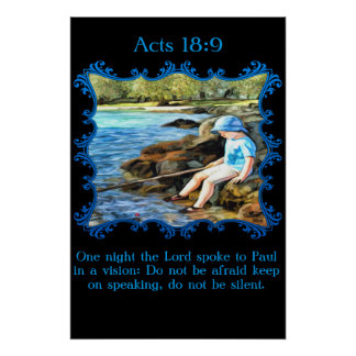 Acts 18:9 Baby boy fishing in the river. Poster
