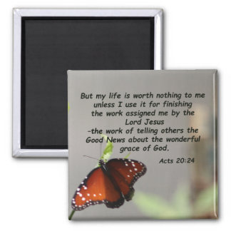 Acts 20:24 2 inch square magnet