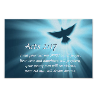 Acts 2:17 I will pour out My Spirit, Bible Verse Poster