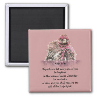 Acts 2:38 Baptism Scripture Verse Bird in Water 2 Inch Square Magnet