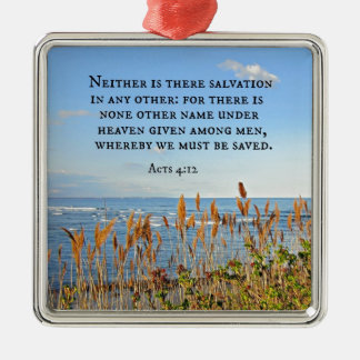 Acts 4:12 Neither is there salvation in any other. Metal Ornament