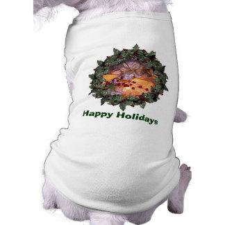 Actual día de fiesta del navidad de la guirnalda playera sin mangas para perro