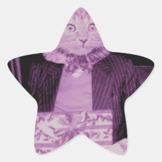 Actual gato pegatina en forma de estrella