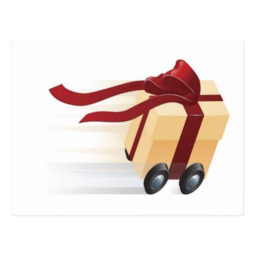 Actual regalo rápido en concepto de las ruedas tarjetas postales