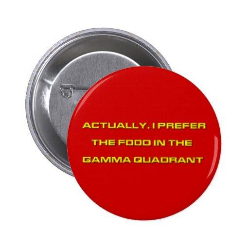 Actually, I Prefer The Food In The Gamma Quadrant Pinback Button